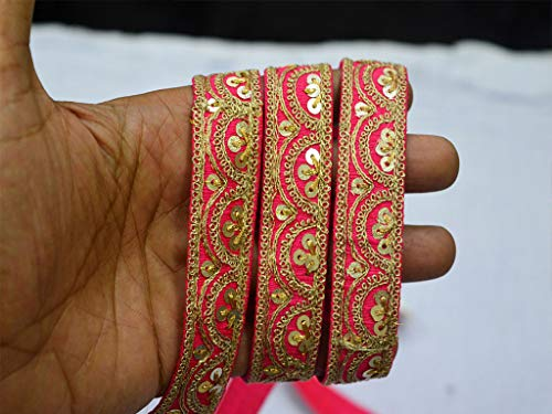 (Magenta Saree Border Sequins Work Ribbon Embellishment Indian Laces Decorative Embroidered Trim by 9 Yard Crafting Ribbon Christmas Trimming)