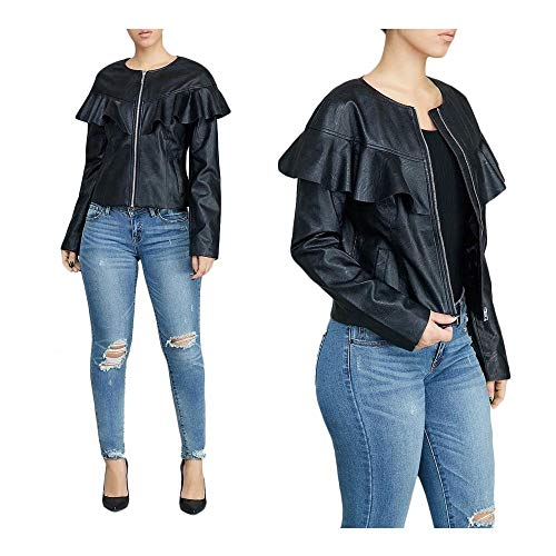 LADY ANGEL Women Sexy Zip Up Coat Jacket Long Sleeves Ruffle Faux Leather PU Jacket Black