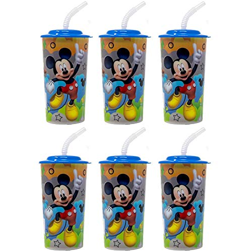 6-Pack Mickey Mouse 16oz Reusable Sports Tumbler Cups with Lids & Straws]()