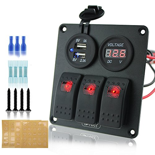 Ambuker 3 gang rocker switch panel with 3.1A dual USB wiring kits with red voltmeter and Decal Sticker Labels DC12V/24V for Marine Boat Car Rv Vehicles Truck