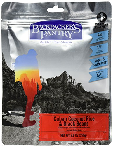 Backpacker's Pantry Cuban Gluten Free, Coconut Black Beans and Rice, Two-Serving Vegan Meal  7.8 Ounces