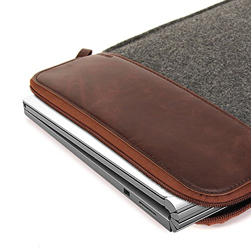 GMYLE 13-13.5 Inch Felt/Leather Sleeve Case Bag for Microsoft Surface Book Lenovo ThinkPad Google Chromebook Toshiba Acer Sony Samsung Dell HP ASUS and Other laptops notebooks Tablets