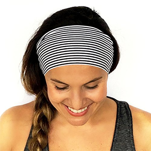 MOJITO LIVING Womens Stretch Hairband Peony Floral Vertical Stripes Bohemia Yoga Sport Headband Sweat Absorbing Headwear Headwrap Hair - Headwrap Stripes