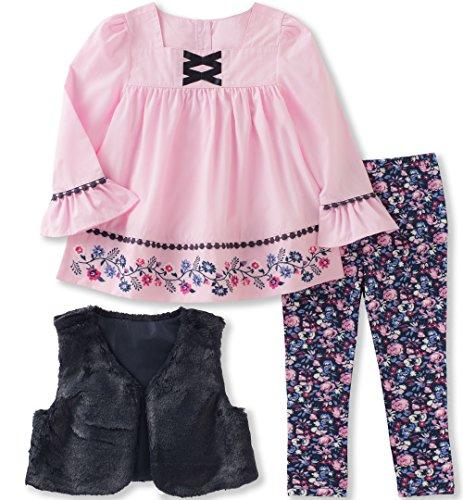 Kids Headquarters Toddler Girls 3 Pieces Faux Fur Vest Tunic Legging Set, Navy/Blue/Multi, 3T