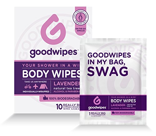 GoodWipes Womens Deodorizing Body Biodegradable Wipes, Lavender, with Naturally Soothing Tea Tree and Aloe, Hypoallergenic for Travel, Never Sticky, No Residue, No dry Skin 1 Pack of 10 Wipes