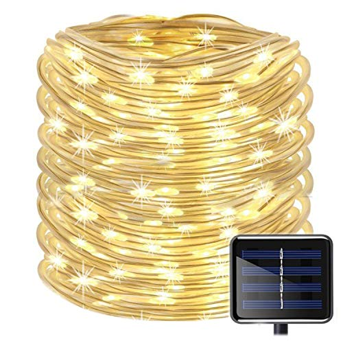 Outdoor Solar Rope Lights 8 Lighting Modes 100 LED(33ft) Waterproof Copper Wire String Fairy Christmas Lights Ideal for Christmas Tree Halloween Garden Patio Bedroom Wedding Decorations(Warm White)]()