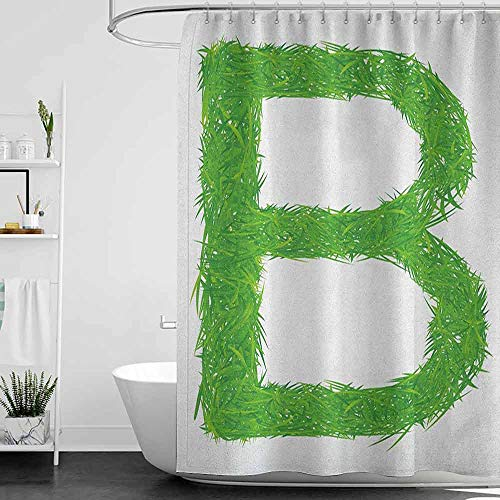 homecoco Shower Curtains Grey and Teal Letter B,Kids Baby Boys Children Capital B Name Fresh Growth Environment Ecology Concept, Green White W48 x L72,Shower Curtain for clawfoot tub