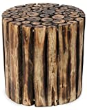 Onlineshoppee Wooden Round Shape Stool/Chair/Table Made From Natural Wood Blocks 10 Inch