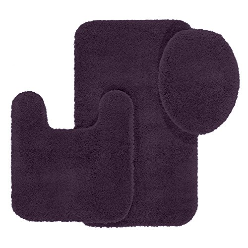 Bathroom Rug Set, Maples Rugs [Made in USA][Cloud Bath] 3 Piece Non Slip Bath Rugs and Mats Sets for Kitchen, Shower, and Toilet - Eggplant (Eggplant Rug Rug)