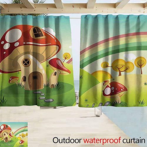 Blackout Curtain,Mushroom Mushroom Fantasy House Steppingstone Farm Field After The Rain Outdoor Childhood,Draft Blocking Draperies,W72x45L Inches,Multicolor