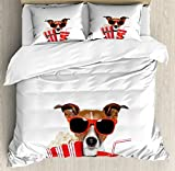 Movie Theater Queen Size Duvet Cover Set by Ambesonne, Funny Dog Wearing Sunglasses Watching a Movie with Popcorn and Soda Print, Decorative 3 Piece Bedding Set with 2 Pillow Shams, Multicolor