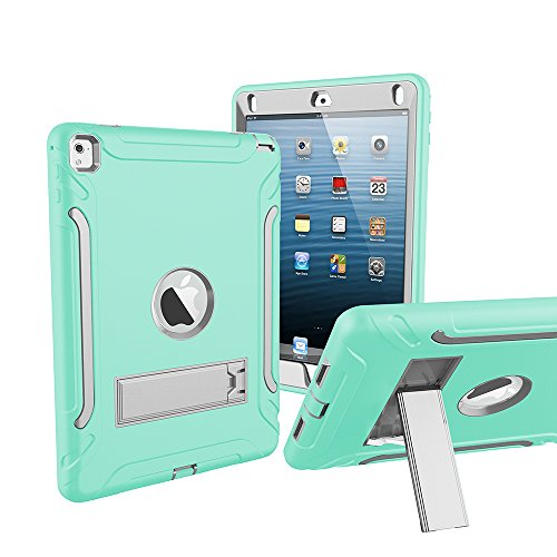 iPad Air 2 iPad 6 Case Kickstand Stand Full-Body Rugged Hybrid Protective Shockproof Resistant Three Layer Case iPad Air 2 Grey Green by Bai Heng