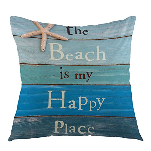 "oFloral The Beach is My Happy Place Decorative Throw Pillow Case Starfish and Rhinestone Pillow Square Cushion Cover for Sofa Couch Home Car Bedroom Living Room Decoration 18"" x 18"" Blue Black White"
