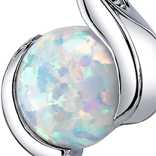 Created Opal Pendant Necklace Sterling Silver Round Cabochon 1.75 Carats