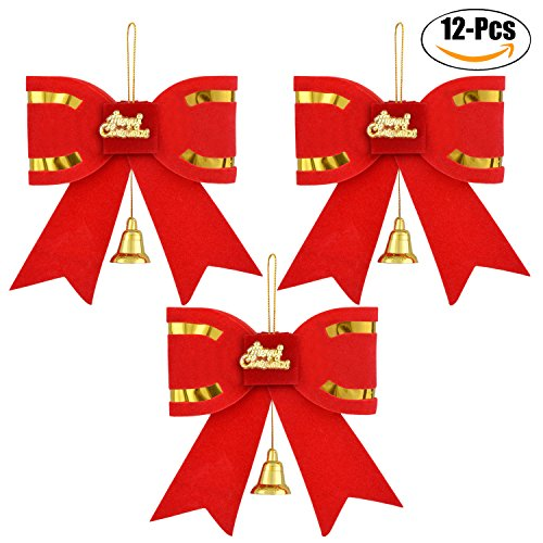 Coxeer 12 PCS Red Christmas Bow Christmas Tree Ornaments Flannel with Bell (W Big Decorations Christmas)
