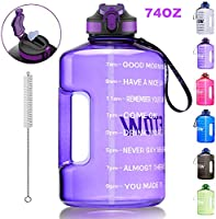ETDW Gallon Water Bottle with Straw and Time Marker, 128OZ/74OZ BPA Free Huge Water Jug with Handle, Leakproof Pop Up...