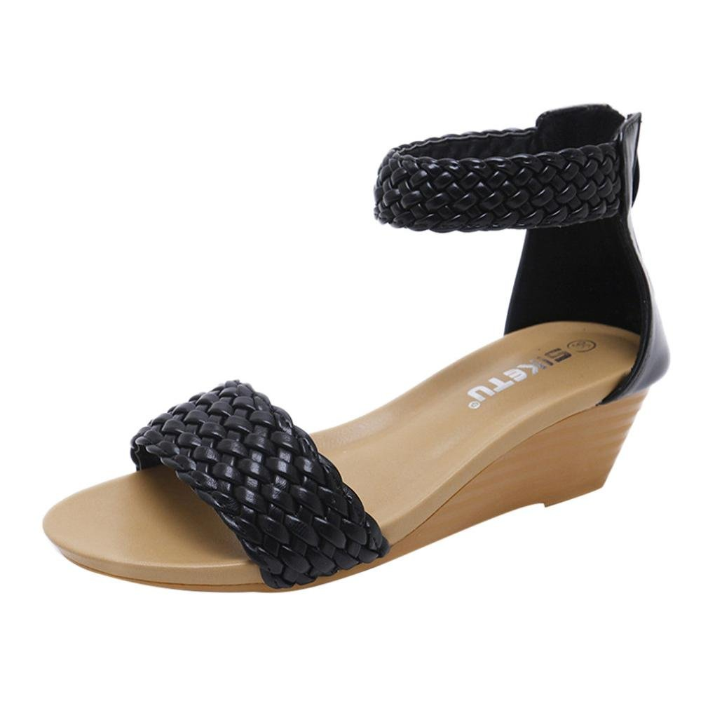 050314ee71955 Lolittas Sandals Summer Beach Wedge Sandals for Women Ladies,Embellished  Low Heel Platform Open Toe Slingback Strappy Outdoor Shoes Size 2-9