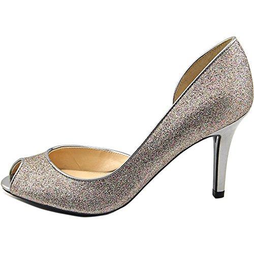 Peep Toe D-orsay Silver Glitter