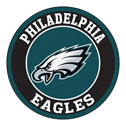 27-Inch NFL Philadelphia Eagles Mat Team Logo Printed Round Rug Sports Football Themed Floor Mats Carpet Home Office Bedroom Bath Area Rug Team Spirit Fan Gift Non-Skid Vinyl Backing, Soft Nylon