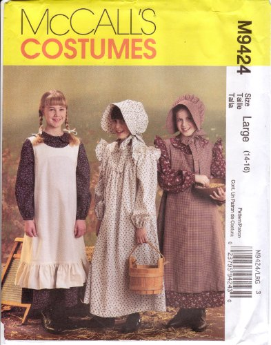 McCall's Sewing Pattern 9424 for Girls' Pioneer Dress, Pinafore, Bonnet, Size 14-16 (Pioneer Bonnet Pattern)