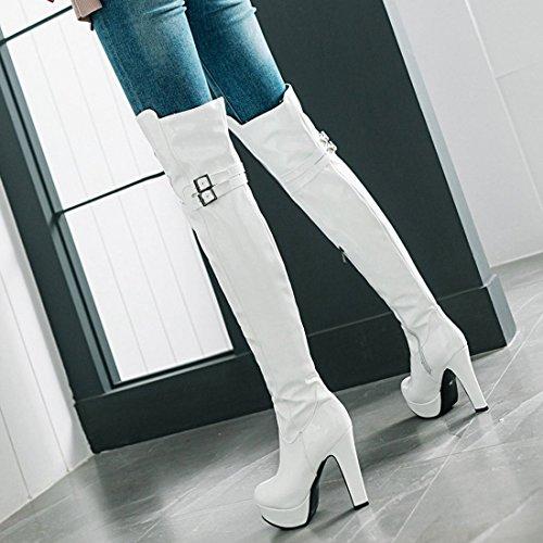 Block Heel White High Boots Thigh Evening Boots Knee Over Artfaerie The High Women's Long Platform gpnqFRx