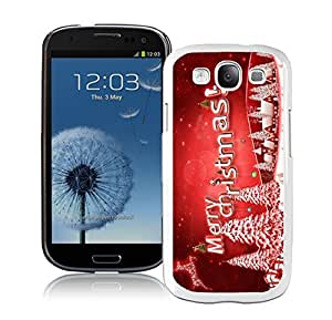 taoyix diy S3 Case,Red Merry Christmas Snow Tree White Silicone Samsung Galaxy S3 Case,S3 I9300 Cover Case