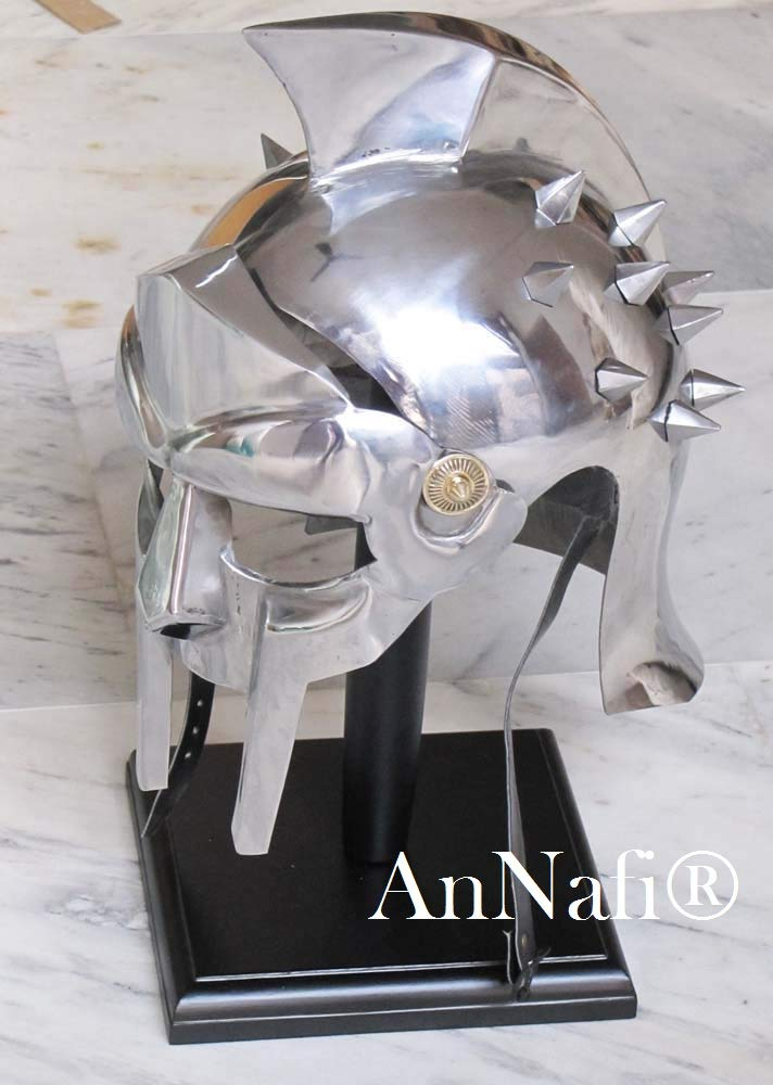 AnNafi Mens Gladiator Maximus Arena Helmet | Wearable Medieval Helmet Full Size |Halloween Party Costumes | LARP Clothings Movie Dresses w Inner Liner