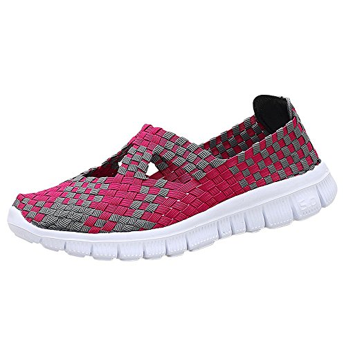 ♡QueenBB♡ Women's Slip On Walking Shoes Woven Stretch Mesh Loafers Lightweight Mary Jane Flat Sneakers Multicolor Hot Pink