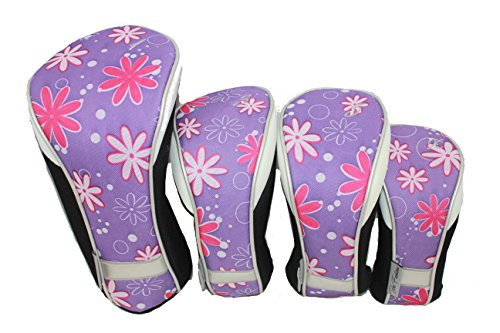 (Taboo Fashions 4-Pack Designer Golf Club Cover Head Cover Set (14 Colors Available) (Petal Pusher))