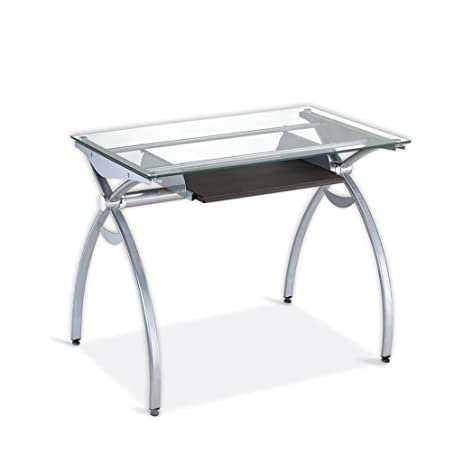 Contempo Clear Glass Top Computer Desk With Pull Out Keyboard Panel. Color:  Clear