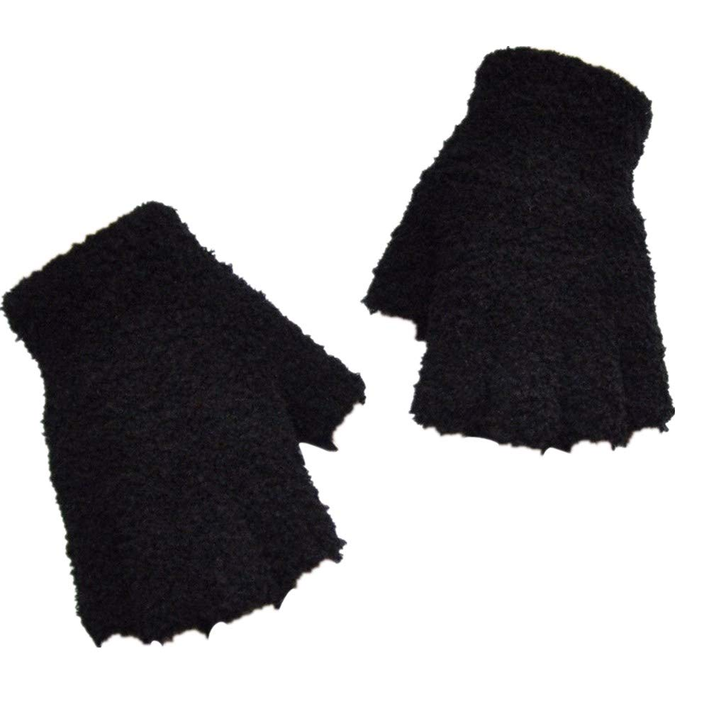 NUWFOR Men Women Christmas Winter Warm Knitted Wapiti Pint Screen Cute Gloves ?Black,Free?