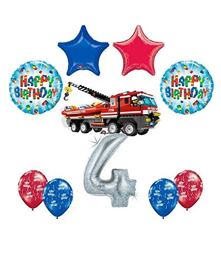 10 pc LEGO CITY Fire Engine Firetruck 4th Birthday Fire TruckParty Balloon Decorating Supply Kit]()