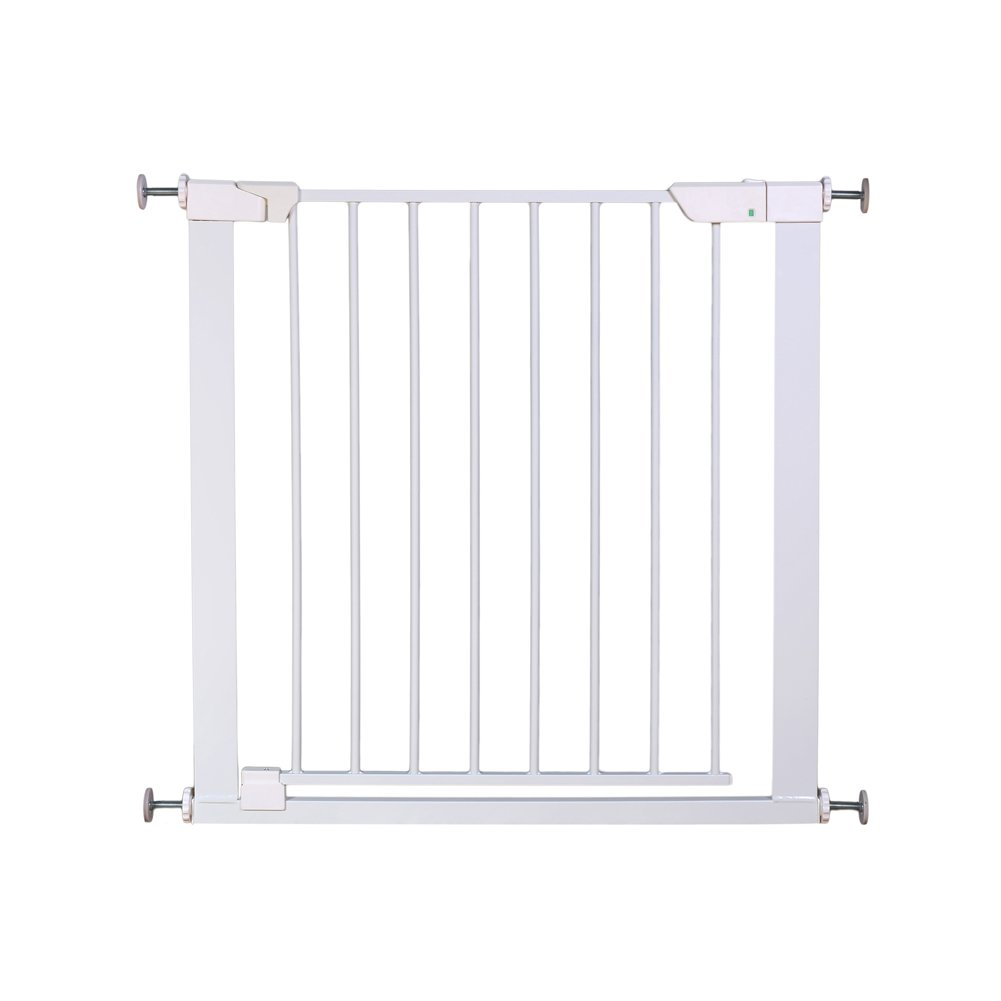 ALLAIBB Auto Close Metal Baby Gate Magnetic Walk Thru Safety Gates, White, 32.3-35.0 in