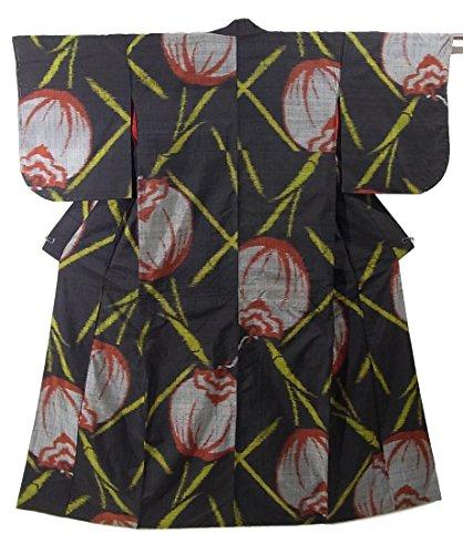 アンティーク 着物 銘仙 正絹 袷 竹に柿 裄62cm 身丈150cm
