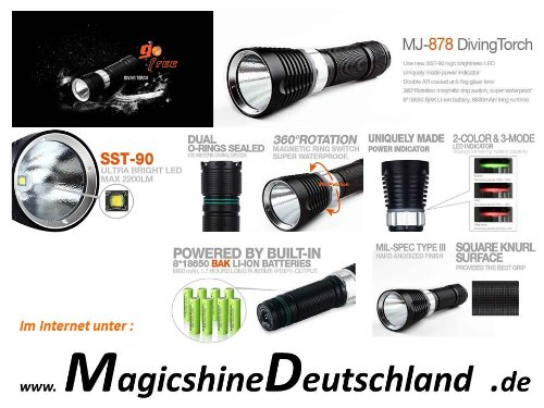Magicshine MJ 878 - 2200 Lumen incl. 8.8 Ah LI ION Akku, Taucherlampe, Diving Light, Flashlight