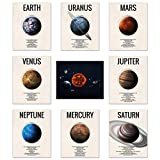 The Solar System Posters Outer Space NASA Wall Art Set of (9) Planet Prints 8x10