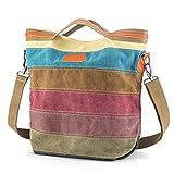 SNUG STAR Multi-Color Striped Canvas Handbag Cross Body Should Purse Bag Tote-Handbag for Women