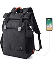 15.6 Slim Laptop Backpack for Men Women, Large Capacity Lightweight Business Computer Notebook Rucksack Anti Theft Bag with USB Port, Black