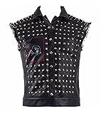 Dahee Mens PU Leather Cosplay Costume Black Vest Rivet Jackets Halloween Battle Full Set (M, Black)