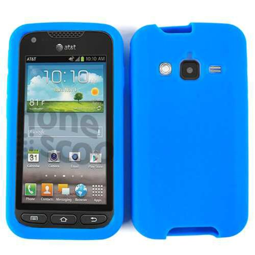 Samsung Galaxy Rugby Pro, i547 Rubber Skin Case Soft Silicone Gel Cover Cell-Tronics TM Blue