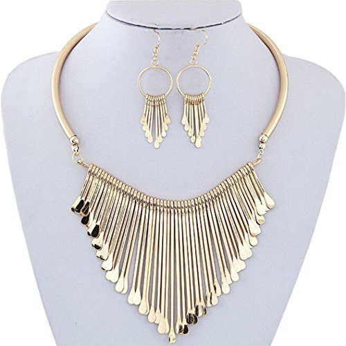 Pendant Gold 14k Opal - DEESEE(TM) New Luxury Womens Metal Tassels Pendant Chain Bib Necklace Earrings Jewelry Set (Gold)