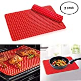 Bekith 2 Pack Non-stick Pyramid Shaped Silicone Baking Mat Cooking Sheets - 16 Inches X 11.5 Inches