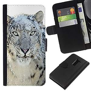 LG G2 D800 D802 D802TA D803 VS980 LS980 , la tarjeta de Crédito Slots PU Funda de cuero Monedero caso cubierta de piel ( Snow Leopard Tiger Furry Winter Animal)