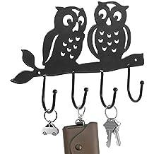 Decorative Owl Design Black Metal 4 Key Hook Rack / Wall Mounted Hanging Storage Organizer