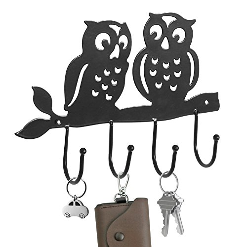 Decorative Owl Design Black Metal 4 Key Hook Rack / Wall Mounted