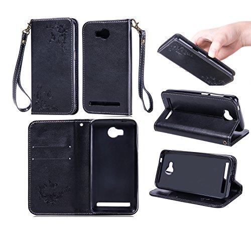 Funda Huawei Y3 II / Y3 2 Case, Ecoway pintado modelado Embossing Cuero PU Función Stand Fundas protectoras con tarjeta Slot Holder Carpeta de diseño de libro Desmontable correa de mano Función de Sop negro