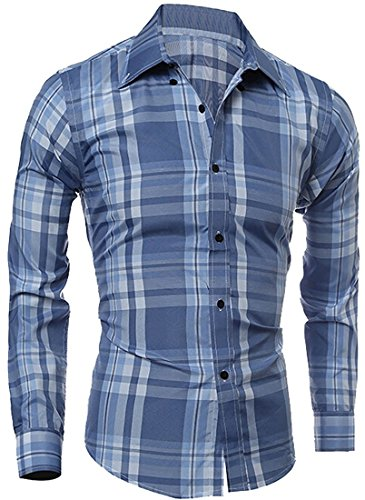 Letbe Lovely coolMen's Long Sleeve Plaid Dress Shirt Button Down Shirts Light BlueUS X-Small-(China (Morph Suit Sizing)