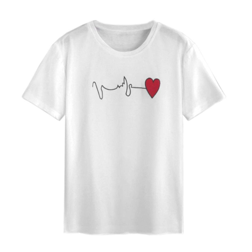 d2a97f0fb4 Amazon.com: Snowfoller Women Short Sleeve Red Heart Embroidery T-Shirt  Fashion O-Neck ECG Line Printed Casual Loose Tops Blouse (XL, White):  Office Products