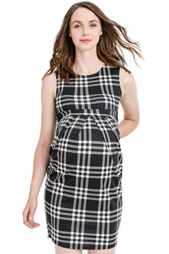 (LaClef Women's Knee Length Midi Maternity Dress with Front Pleat (Black/White Plaid, S))