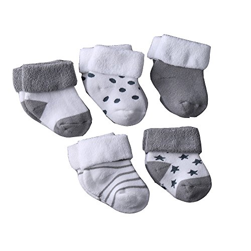 Evelin LEE Kids Unisex Baby Toddler Soft Socks 5 Pairs Crew Walkers Newborn Gift (0-4 months, Style 3-Gray-5PCS)